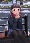1girl bench black_hair black_legwear blush braid breath brown_eyes cold commentary flower hands_together legs_together long_hair looking_at_viewer looking_up matome open_mouth original pantyhose railing red_scarf road scarf school_uniform sitting skirt snow snowing solo street sweater town twin_braids winter winter_clothes