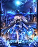 1girl ;d >_< bandaged_leg bandages bangs black_cape black_hat black_skirt black_vest blue_bow blue_cape blue_footwear blush bow building candy cape commentary_request crossed_legs eyebrows_visible_through_hair fangs flower food frilled_skirt frills full_moon grey_hair hair_between_eyes halloween halloween_basket hat hat_bow head_tilt highres holding jack-o'-lantern lamppost loafers lollipop long_hair long_sleeves looking_at_viewer moon multicolored multicolored_cape multicolored_clothes night night_sky no_socks one_eye_closed open_mouth original outdoors purple_eyes ribbon-trimmed_skirt ribbon_trim shirt shoes skirt sky smile solo standing star_(sky) starry_sky swirl_lollipop tower utatanecocoa very_long_hair vest watson_cross white_flower white_shirt window witch_hat
