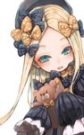 1girl abigail_williams_(fate/grand_order) bangs black_bow black_dress black_headwear blonde_hair blue_eyes blush bow commentary_request dress fate/grand_order fate_(series) forehead hair_bow hat highres holding holding_stuffed_animal long_hair long_sleeves looking_at_viewer lower_teeth nyucha open_mouth orange_bow parted_bangs polka_dot polka_dot_bow simple_background sleeves_past_fingers sleeves_past_wrists solo stuffed_animal stuffed_toy teddy_bear upper_body upper_teeth very_long_hair white_background