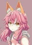 1girl akino_sora animal_ears bare_shoulders blush breasts cleavage closed_mouth commentary eyebrows_visible_through_hair fate/extra fate_(series) fox_ears highres long_hair looking_at_viewer no_nose pink_hair purple_background simple_background solo tamamo_(fate)_(all) tamamo_no_mae_(fate) upper_body yellow_eyes