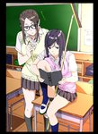 2girls absurdres black_hair book breasts broom classroom commentary_request desk glasses highres kakitama kneehighs large_breasts long_hair multiple_girls on_desk original reading school_uniform sitting sitting_on_desk skirt socks sweater_vest