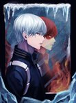 1boy artist_name blue_eyes boku_no_hero_academia burn_mark fire from_side ice male_focus mirror multicolored_hair open_mouth red_hair reflection silver_hair solo todoroki_shouto two-tone_hair upper_body yuari_kim