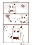 (o)_(o) bird comic commentary cosplay greyscale highres hishimochi horns kantai_collection mittens monochrome moomin muppo no_humans northern_ocean_hime northern_ocean_hime_(cosplay) sazanami_konami shinkaisei-kan silent_comic translation_request