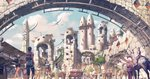animal arch architecture armor artist_name backpack bag blue_sky building cart city cityscape cloud cloudy_sky commentary_request creature crowd day dragon fantasy horse multiple_boys multiple_girls noba outdoors pixiv_fantasia pixiv_fantasia_last_saga robe scenery sky sunlight totem_pole tower tree walking wide_shot window
