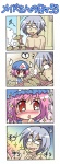 1boy 1girl 4koma ? beamed_sixteenth_notes blush colonel_aki comic corn finger_sucking grill morichika_rinnosuke musical_note nervous pink_hair red_eyes saigyouji_yuyuko silent_comic sparkle speech_bubble spoken_question_mark sweat sweatdrop tears touhou translated turn_pale