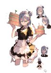 1girl =3 aqua_eyes artist_name bangs cake closed_mouth cropped_legs enj! expressionless food from_side grey_hair hair_between_eyes hair_bun highres holding holding_food holding_tray looking_at_viewer maid maid_headdress multiple_views original pointy_ears short_sleeves signature simple_background sketch tray white_background
