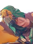 1boy arabian_clothes bandeau bare_shoulders blonde_hair blue_eyes bridal_gauntlets closed_mouth crossdressing detached_sleeves earrings eyelashes gerudo_link halterneck highres jewelry link looking_at_viewer male_focus parted_lips shuzukipai solo sword the_legend_of_zelda the_legend_of_zelda:_breath_of_the_wild veil weapon