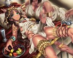 2girls apple armlet bent_over bowl bracelet breast_grab breasts brown_hair cleavage egyptian_clothes food fruit gold_trim grabbing grapes green_eyes headdress highres hikari_(komitiookami) jewelry jug large_breasts licking_lips long_hair looking_at_viewer lying multiple_girls o-ring oil on_back original pelvic_curtain ring short_hair skindentation small_breasts solo_focus tan thigh_strap thighs tongue tongue_out water