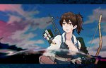1girl arrow blue_sky bow_(weapon) breasts brown_eyes brown_hair cleavage collarbone flight_deck highres injury japanese_clothes kaga_(kantai_collection) kantai_collection large_breasts letterboxed looking_at_viewer looking_to_the_side madokan_suzuki muneate outdoors parted_lips partially_submerged purple_sky quiver scrape side_ponytail sky solo sunset tasuki torn_clothes upper_body water weapon
