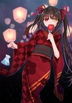 1girl asymmetrical_hair black_hair candy_apple checkered checkered_kimono closed_eyes date_a_live floral_print food hair_between_eyes hair_ribbon heterochromia highres holding holding_food japanese_clothes kimono long_hair long_sleeves looking_at_viewer mo_(pixiv9929995) nail_polish night red_eyes red_kimono red_nails red_ribbon ribbon sky sky_lantern smile solo star_(sky) starry_sky tokisaki_kurumi twintails very_long_hair wide_sleeves yellow_eyes