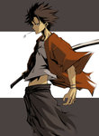 1boy black_hair irving-zero japanese_clothes katana midriff mouth_hold mugen samurai_champloo short_hair solo straw_(stalk) sword weapon