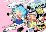 1girl aircraft airplane bag barefoot blue_dress blue_hair book bow bus car cd cirno closed_eyes cloud commentary_request cover dress english_text ground_vehicle hair_bow koinobori motor_vehicle moyazou_(kitaguni_moyashi_seizoujo) open_mouth pink_background ribbon running scroll shopping_bag short_hair short_sleeves space_craft touhou train wings