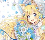 1girl :d animal animal_ears animal_on_shoulder bangs bare_shoulders bird blonde_hair blue_bow blue_eyes blue_flower bonnet bouquet bow bunny bunny_on_shoulder cat_ears commentary crescent detached_sleeves diagonal_stripes eyebrows_visible_through_hair flower hair_bow hat highres holding holding_bouquet long_hair open_mouth original petals rainbow sakura_oriko smile solo star striped striped_bow upper_teeth very_long_hair white_bow white_flower white_hat