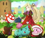 1girl 1other ? animal blonde_hair blush boots closed_eyes commentary copy_ability dress flower gen_1_pokemon hair_flower hair_ornament hat heart ippers ivysaur kid_icarus kid_icarus_uprising kirby kirby_(series) long_hair mario_(series) nachure open_mouth pikmin_(creature) pikmin_(series) piranha_plant pokemon pokemon_(creature) pokemon_(game) ponytail sandals side_ponytail smile spikes spoken_heart spoken_question_mark super_mario_bros. super_smash_bros. teeth toeless_boots very_long_hair water whispy_woods