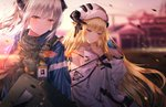 2girls absurdres animal animal_on_hand arknights bare_shoulders bird bird_on_finger bird_on_hand black_shirt blonde_hair blue_eyes blue_jacket bluebird blurry blurry_background building closed_mouth commentary_request curled_horns depth_of_field gun hat highres horns huge_filesize jacket junpaku_karen liskam_(arknights) long_hair looking_at_viewer multiple_girls open_clothes open_jacket orange_eyes outdoors ribbed_sweater shirt silver_hair sleeveless sleeveless_sweater sleeveless_turtleneck sunset sweater turtleneck turtleneck_sweater upper_body very_long_hair weapon white_headwear white_sweater