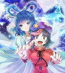 2girls blue_dress blue_eyes blue_hair dress green_eyes hair_ornament hair_rings hair_stick holding_head jiangshi kaku_seiga kasuura_(cacula) miyako_yoshika multiple_girls ofuda open_mouth outstretched_arms short_sleeves star touhou zombie_pose