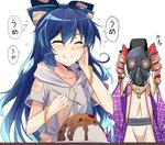 2girls :t ^_^ bangle bangs belt black_belt black_headwear blue_bow blue_hair blush bow bracelet breasts closed_eyes coat commentary_request curry debt drawstring dress drill_hair e.o. eyebrows_visible_through_hair facing_viewer food gas_mask grey_hoodie hair_bow hand_on_own_cheek hand_up hands_up hat highres holding holding_spoon hood hoodie jewelry kyoushirou_2030 long_hair medium_breasts multiple_girls open_clothes open_coat pendant purple_coat red_bow rice short_sleeves siblings simple_background sisters speech_bubble spoon sweat top_hat touhou translation_request twin_drills twintails upper_body v-shaped_eyebrows very_long_hair white_background white_dress yorigami_jo'on yorigami_shion