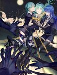 3others absurdres androgynous aqua_eyes aqua_hair artist_request bangs blue_eyes blue_hair blunt_bangs blurry blurry_background closed_eyes colored_eyelashes crack crying crying_with_eyes_open crystal_hair depth_of_field dual_persona elbow_gloves full_moon gem_uniform_(houseki_no_kuni) gloves gold golden_arms grabbing green_eyes green_hair hands highres houseki_no_kuni hug lapis_lazuli_(houseki_no_kuni) long_hair looking_at_viewer moon multiple_others necktie out_of_frame phosphophyllite pov pov_hands reaching sad_smile sandwiched short_hair smile spoilers tears thighhighs tsuki_jin