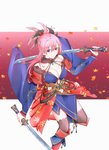 1girl absurdres asymmetrical_hair autumn_leaves black_legwear blue_eyes blue_kimono breasts collarbone commentary commentary_request detached_sleeves dual_wielding earrings fate/grand_order fate_(series) hair_ornament highres holding holding_sword holding_weapon huge_filesize japanese_clothes jewelry katana kimono large_breasts leaf_print looking_at_viewer looking_up magatama maple_leaf_print miyamoto_musashi_(fate/grand_order) navel_cutout obi pink_hair ponytail sash sheath sheathed short_kimono sleeveless sleeveless_kimono solo sword thighhighs unsheathed weapon wide_sleeves winered07