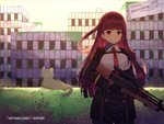 1girl animal bangs black_dress black_gloves breasts building bullpup cat closed_mouth collared_shirt commentary dress english english_commentary eyebrows_visible_through_hair girls_frontline gloves gun hair_ribbon hedge_(plant) hentaki holding holding_gun holding_weapon long_hair long_sleeves looking_at_viewer necktie object_namesake one_side_up outdoors pantyhose red_eyes red_hair red_neckwear red_ribbon ribbon rifle ruins scope shirt sign sky small_breasts sniper_rifle solo standing sunset trigger_discipline v-shaped_eyebrows very_long_hair wa2000_(girls_frontline) walther walther_wa_2000 watermark weapon web_address white_shirt