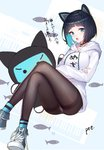 1girl animal_ears bangs black_choker black_hair black_legwear blue_background blue_eyes blue_footwear blue_hair blunt_bangs blush bob_cut breasts cat_ears choker clothes_writing commentary_request crossed_arms crossed_legs drawstring fake_animal_ears fine_fabric_emphasis fish gems_company highres hood hood_down hoodie invisible_chair jewelry long_sleeves looking_at_viewer medium_breasts mizushima_aoi_(virtual_youtuber) multicolored_hair open_mouth panties panties_under_pantyhose pantyhose pendant pre_(17194196) shoes short_hair signature sitting smile solo star stuffed_toy thighband_pantyhose translated translation_request two-tone_background two-tone_hair underwear untied_shoes
