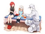 1boy 2girls :d ^_^ ae-3803 age_difference asutora bare_arms bare_shoulders baseball_cap belt black_eyes black_footwear black_legwear black_shirt blonde_hair blue_shirt blush boots breasts brown_eyes closed_eyes clothes_writing commentary copyright_name cup denim denim_shorts facing_another fan flat_cap full_body hat hat_removed hataraku_saibou headwear_removed holding holding_cup holding_fan holster jacket knife large_breasts long_hair long_sleeves looking_at_another multiple_girls open_mouth pants paper_fan platelet_(hataraku_saibou) red_blood_cell_(hataraku_saibou) red_footwear red_hair red_hat rubber_boots shadow sheath sheathed shirt shoes short_hair short_shorts short_sleeves shorts sitting sleeveless sleeveless_shirt smile socks thigh_holster thighs translation_request u-1146 uchiwa very_long_hair weapon white_background white_blood_cell_(hataraku_saibou) white_footwear white_hat white_jacket white_pants white_shorts