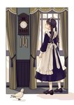 1girl apron arms_at_sides bangs bird blue_dress blunt_bangs blush brown_eyes brown_hair clock closed_mouth commentary_request curtains day dress frilled_apron frills from_behind full_body highres indoors kashiwagi_chisame legs_apart long_hair long_sleeves looking_at_clock maid maid_headdress original outside_border pendulum_clock profile purple_footwear ribbon shadow shoes solo standing sunlight twintails white_apron white_legwear white_ribbon window