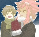 2boys blue_eyes blush brown_hair commentary dark_skin dark_skinned_male drawr goggles inazuma_eleven inazuma_eleven_(series) long_hair male_focus mero_(omigurax) mittens multiple_boys night night_sky open_mouth outdoors pink_hair scarf short_hair sky smile snow star_(sky) starry_sky tachimukai_yuuki tsunami_jousuke winter