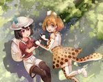 2girls animal_ears animal_print backpack bag bangs black_gloves black_hair black_legwear black_shirt blonde_hair blush boots bucket_hat choker dappled_sunlight day feathers gloves hair_between_eyes happy hat highres interlocked_fingers kaban_(kemono_friends) kemono_friends layered_clothing light_particles light_rays looking_at_another looking_at_viewer mofashi_beibei multiple_girls open_mouth pantyhose parted_lips red_shirt ribbon serval_(kemono_friends) serval_ears serval_print serval_tail shadow shiny shiny_clothes shiny_hair shirt short_hair shorts skirt sleeveless sleeveless_shirt sparkling_eyes sunbeam sunlight tail teeth thighhighs thighs tree wall white_boots white_shirt worried yellow_skirt