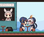 3girls animated black_hair blinking blush closed_mouth commentary_request cup day donkey_(kemono_friends) donkey_ears drinking_glass drinking_straw emperor_penguin_(kemono_friends) eye_contact grass grey_hair headphones high_ponytail jacket kemono_friends letterboxed long_hair long_sleeves looking_at_another midoribox multicolored_hair multiple_girls orange_hair outdoors pink_hair pixel_art ponytail red_eyes red_hair royal_penguin_(kemono_friends) shared_drink shared_food sitting smile stool table twintails ugoira very_long_hair vest white_hair