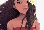 1girl bare_shoulders brown_eyes brown_hair close-up curly_hair dark_skin disney expressionless eyebrows face floating_hair flower grey_background hair_flower hair_ornament long_hair looking_at_viewer moana_(movie) moana_waialiki pano_(mohayayamai) plumeria simple_background solo tank_top teeth upper_body white_flower wind wind_lift yellow_flower