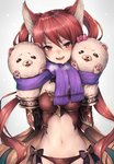 1girl animal_ears blush breasts cerberus_(shingeki_no_bahamut) dog_ears granblue_fantasy hair_between_eyes hand_puppet inaba_sunimi long_hair looking_at_viewer medium_breasts midriff navel open_mouth puppet red_eyes red_hair revealing_clothes scarf shingeki_no_bahamut simple_background solo twintails very_long_hair white_background