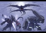 absurdres atlas_(pixiv_fantasia) cannon character_request commentary_request dragon flag flying glowing golem highres holding hutago legs_apart letterboxed mecha outdoors pixiv_fantasia pixiv_fantasia_fallen_kings pleione_(pixiv_fantasia) rubble smoke standing turret