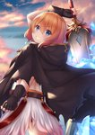 1girl arm_up bangs belt black_gloves blue_eyes blue_sky blush brown_belt brown_cloak brown_hair cloak cloud cloudy_sky commentary_request crystal eyebrows_visible_through_hair fingerless_gloves from_behind gloves grin hair_between_eyes holding holding_sword holding_weapon hood hood_down hooded_cloak looking_at_viewer looking_to_the_side muimi outdoors princess_connect! princess_connect!_re:dive skirt sky smile solo sunset sword weapon white_skirt yuririn_poi