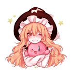 1girl ;d black_headwear blonde_hair blue_eyes blush bow braid carrying commentary_request crossover derivative_work eyebrows_visible_through_hair grin hair_between_eyes hat hat_bow hug kirby kirby_(series) kirisame_marisa korean_commentary long_hair long_sleeves looking_at_viewer nail_polish one_eye_closed open_mouth pink_nails shan shirt simple_background single_braid smile star strap_slip touhou upper_body wavy_hair white_background white_bow white_shirt wing_collar witch_hat yellow_eyes