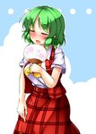 1girl aka_tawashi ascot bangs blue_sky blush breasts closed_eyes cloud commentary_request cowboy_shot day eyebrows_visible_through_hair fan floral_print green_hair highres holding holding_fan kazami_yuuka large_breasts open_mouth outdoors outline paper_fan plaid plaid_skirt plaid_vest red_skirt red_vest shirt short_hair short_sleeves skirt sky solo standing sweat touhou uchiwa vest white_outline white_shirt yellow_neckwear