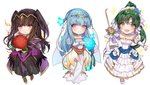 bodystocking bodysuit bracelet bridal_gauntlets bridal_veil bride cape chibi circlet dress fire_emblem fire_emblem:_kakusei fire_emblem:_rekka_no_ken fire_emblem_heroes flower green_eyes green_hair high_ponytail jewelry long_hair looking_at_viewer lyndis_(fire_emblem) mamkute ninian pelvic_curtain ponytail smile tharja tiara two_side_up veil wedding wedding_dress white_background zuizi