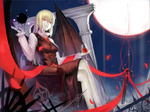 1girl adapted_costume bat_wings blonde_hair boots breasts crossed_legs cupping_glass darkness ex-rumia fang feng_ze glass grin highres long_hair long_sleeves medium_breasts moon necktie night older open_mouth red_eyes red_moon red_neckwear ribbon rumia sidelocks sitting smile smirk solo sword thighhighs touhou very_long_hair weapon wings
