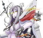 1girl bad_id bad_pixiv_id blood breasts commentary_request glowing glowing_eyes heads-up_display headset kantai_collection large_breasts lavender_skin long_hair looking_at_viewer machinery mecha_musume monster neckerchief original pale_skin personification phalanx_ciws pun saizu_nitou_gunsou school_uniform serafuku sh-60_seahawk shinkaisei-kan simple_background smirk ta-class_battleship teeth thumbs_down upper_body uss_ticonderoga_(cg-47) white_background yellow_eyes