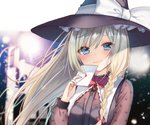 1girl alternate_eye_color bangs black_hat black_vest blonde_hair blue_eyes blurry blurry_background blush bow braid brooch commentary_request eyebrows_visible_through_hair eyes_visible_through_hair hair_between_eyes hair_bow hand_up hat head_tilt heart holding holding_letter jewelry kirisame_marisa lace-trimmed_collar lace_trim lens_flare letter long_hair long_sleeves looking_at_viewer natsuki_(ukiwakudasai) neck_ribbon puffy_sleeves red_bow red_neckwear red_ribbon ribbon single_braid smile solo touhou vest witch_hat