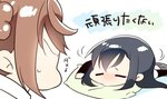 1koma 2girls =_= asashio_(kantai_collection) black_hair chibi comic commentary_request head_rest kantai_collection lazy long_hair looking_at_another lying michishio_(kantai_collection) motion_lines multiple_girls no_eyes on_pillow on_stomach pillow pout profile red_hair sidelocks simple_background skirt sweatdrop translated tsunoda_magu