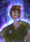 1boy aura blue_eyes brown_hair cola commentary dragon_ball dragon_ball_super english_commentary epic facial_hair floating_hair glowing glowing_eyes goatee highres male_focus manly meme nose parody powering_up raikoart scooby-doo shaggy_rogers shirt short_hair solo space t-shirt thick_eyebrows torn_clothes ultra_instinct