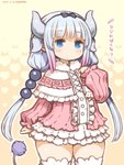 1girl 2017 artist_name bangs beads blue_eyes blunt_bangs blush bow capelet catchphrase dated dragon_girl dragon_horns dress eyebrows_visible_through_hair hair_beads hair_ornament hairband horns kanna_kamui kobayashi-san_chi_no_maidragon long_hair looking_at_viewer shigatake signature solo tail thighhighs translated twintails white_legwear zettai_ryouiki