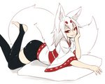 1girl absurdres animal_ear_fluff animal_ears bangs barefoot bike_shorts black_legwear borrowed_character chin_rest commentary english_commentary fang fox_ears fox_girl fox_tail grin hair_between_eyes highres japanese_clothes large_tail long_hair looking_at_viewer lying one_eye_closed original pillow red_eyes ribbon-trimmed_sleeves ribbon_trim simple_background smile solo stirrup_legwear sub-res tail teeth thighhighs toeless_legwear white_background white_hair wide_sleeves