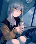 1girl bag bench commentary_request cup drinking_straw hair_between_eyes headphones highres holding holding_cup kantai_collection long_hair looking_at_viewer parted_lips pleated_skirt sailor_collar school_bag school_uniform shinkaisei-kan sidelocks sitting skirt starbucks starbucks_siren supply_depot_hime sweater ta-class_battleship walzrj white_hair window yellow_eyes
