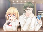 1boy 1girl :/ absurdres akizuki_kouyou bespectacled black-framed_eyewear blend_s blurry blush breasts cellphone chair chin_rest closed_mouth clothes_writing cup depth_of_field disposable_cup drawstring drinking drinking_straw eyebrows_visible_through_hair glasses green_hair hair_between_eyes hair_ornament hairclip highres hinata_kaho holding holding_phone hood hoodie indoors large_breasts long_hair looking_at_viewer phone red-framed_eyewear short_hair sitting smartphone table twintails yasaka_(astray_l)
