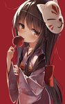 1girl bangs blush bow brown_hair candy_apple closed_mouth darnell eyebrows_visible_through_hair fingernails floral_print food fox_mask hair_between_eyes highres holding holding_food japanese_clothes kimono long_hair long_sleeves looking_at_viewer mask mask_on_head obi original print_kimono red_background red_bow red_eyes red_kimono sash simple_background sleeves_past_wrists solo tongue tongue_out very_long_hair wide_sleeves