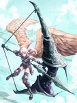 1girl angel armor arrow boots bow_(weapon) bracer brown_footwear cloud commentary drawing_bow flying full_body gloves halo huge_weapon long_hair original oversized_object satyuas sky solo weapon wings