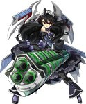 1girl artist_request bare_shoulders black_hair black_legwear black_skirt boots detached_sleeves elbow_gloves frilled_skirt frills full_body gloves gothic_lolita gun holding holding_gun holding_weapon knee_boots lolita_fashion long_hair official_art oshiro_project oshiro_project_re pantyhose skirt solo thigh_boots thighhighs transparent_background tsuwano_(oshiro_project) very_long_hair wavy_hair weapon yellow_eyes