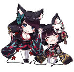 2girls ^_^ animal_ears azur_lane bell black_hair blue_eyes blush_stickers breasts butterfly_hair_ornament chibi cleavage closed_eyes fang fusou_(azur_lane) hair_ornament hand_on_another's_head japanese_clothes jingle_bell kagura_suzu kneeling kochipu large_breasts long_hair long_sleeves mask mask_on_head multiple_girls open_mouth paw_pose petting short_hair sideboob thighhighs white_legwear yamashiro_(azur_lane)
